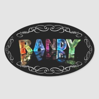The Name Randy in 3D Lights (Photograph) Oval Stickers