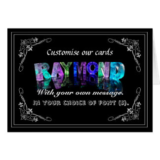 The Name Raymond in 3D Lights (Photograph) Greeting Card