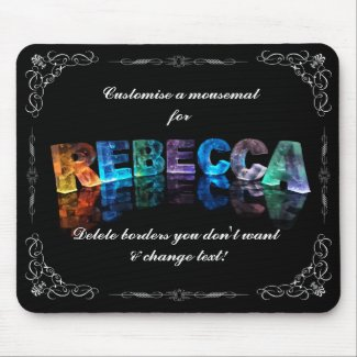 The Name Rebecca in 3D Lights (Photograph) Mouse Mat