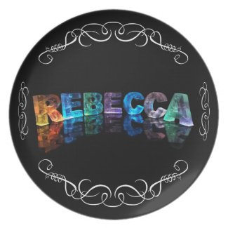 The Name Rebecca in 3D Lights (Photograph) Party Plate