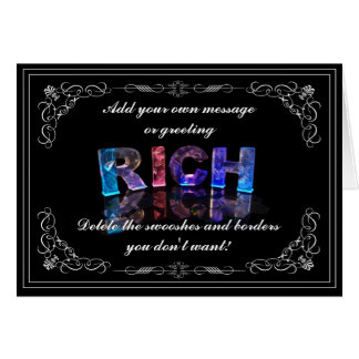 The Name Rich in 3D Lights (Photograph) Card