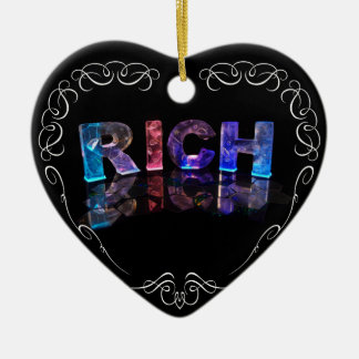 The Name Rich in 3D Lights (Photograph) Ceramic Heart Decoration