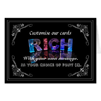 The Name Rich in 3D Lights (Photograph) Greeting Card