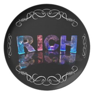 The Name Rich in 3D Lights (Photograph) Party Plates