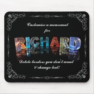 The Name Richard in 3D Lights (Photograph) Mouse Pads