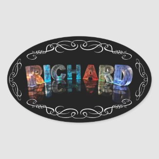 The Name Richard in 3D Lights (Photograph) Oval Sticker