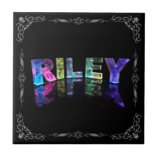 The Name Riley in 3D Lights (Photograph) Tile