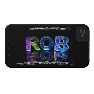 The Name Rob in 3D Lights (Photograph) iPhone 4 Case