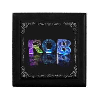 The Name Rob in 3D Lights (Photograph) Trinket Boxes