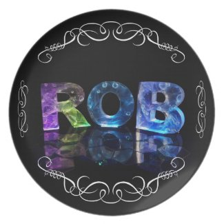 The Name Rob in 3D Lights (Photograph) Party Plate
