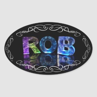 The Name Rob in 3D Lights (Photograph) Sticker