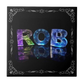 The Name Rob in 3D Lights (Photograph) Ceramic Tile
