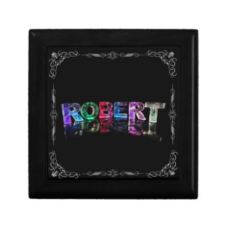 The Name Robert in 3D Lights (Photograph) Small Square Gift Box