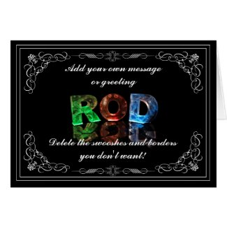 The Name Rod in 3D Lights (Photograph) Cards