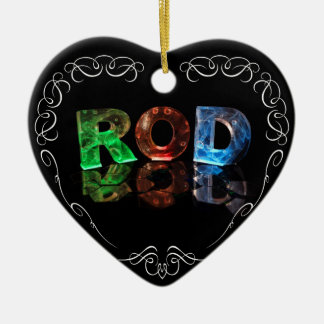 The Name Rod in 3D Lights (Photograph) Ceramic Heart Decoration
