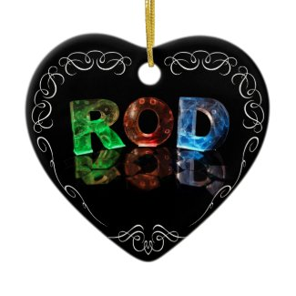 The Name Rod in 3D Lights (Photograph) Christmas Tree Ornament