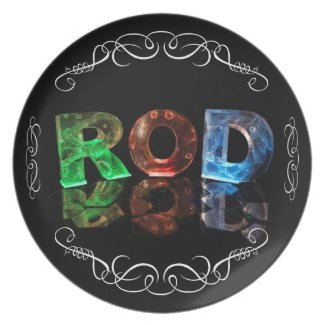 The Name Rod in 3D Lights (Photograph) Party Plate