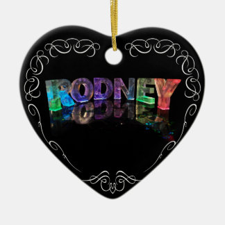 The Name Rodney in 3D Lights (Photograph) Ceramic Heart Decoration
