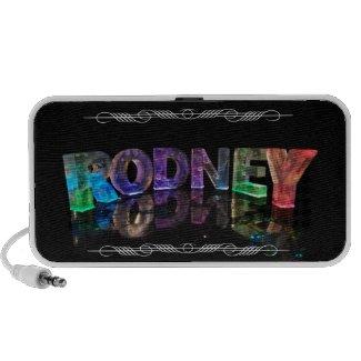The Name Rodney in 3D Lights (Photograph) Mini Speaker