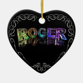 The Name Roger in 3D Lights (Photograph) Ceramic Heart Decoration