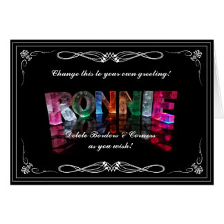The Name Ronnie in 3D Lights (Photograph) Card