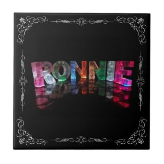 The Name Ronnie in 3D Lights (Photograph) Tile
