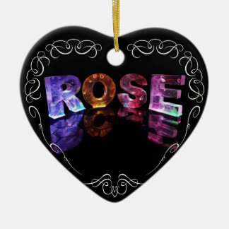 The Name Rose in 3D Lights (Photograph) Ceramic Heart Decoration
