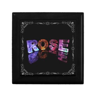The Name Rose in 3D Lights (Photograph) Keepsake Boxes