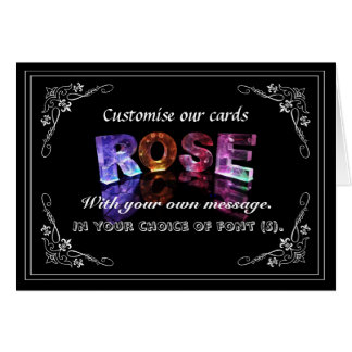 The Name Rose in 3D Lights (Photograph) Greeting Card