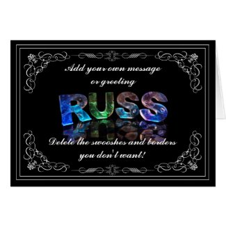 The Name Russ in 3D Lights (Photograph) Card