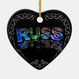 The Name Russ in 3D Lights (Photograph) Ceramic Heart Decoration