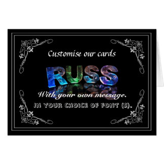 The Name Russ in 3D Lights (Photograph) Greeting Card