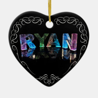 The Name Ryan in 3D Lights (Photograph) Ceramic Heart Decoration