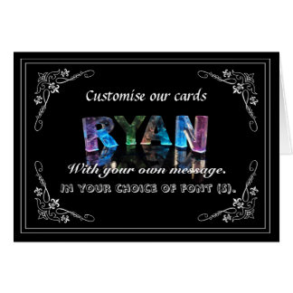 The Name Ryan in 3D Lights (Photograph) Greeting Card