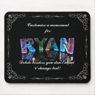 The Name Ryan in 3D Lights (Photograph) Mouse Pads