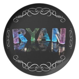 The Name Ryan in 3D Lights (Photograph) Dinner Plates