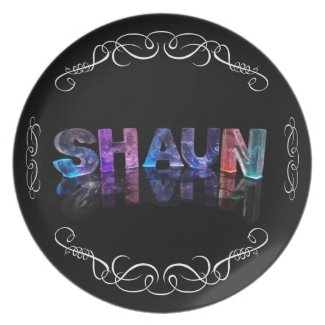The Name Shaun - Name in Lights (Photograph) Dinner Plate