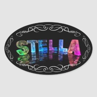The Name Stella - Name in Lights (Photograph) Oval Sticker
