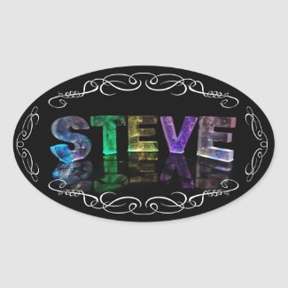 The Name Steve - Name in Lights (Photograph) Oval Sticker