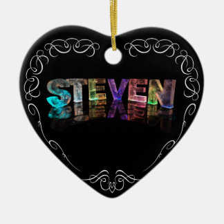 The Name Steven -  Name in Lights (Photograph) Ceramic Heart Decoration