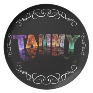 The Name Tammy - Name in Lights (Photograph) Party Plates