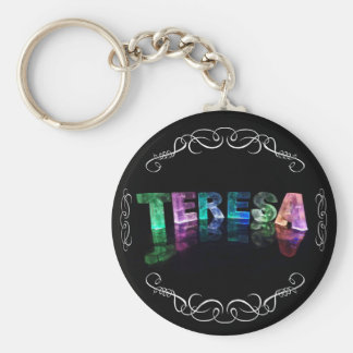 The Name Teresa -  Name in Lights (Photograph) Basic Round Button Key Ring