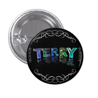 The Name Terry -  Name in Lights (Photograph) 3 Cm Round Badge