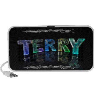 The Name Terry - Name in Lights (Photograph) Mini Speaker