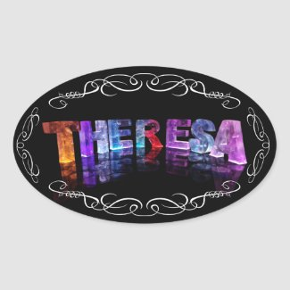 The Name Theresa - Name in Lights (Photograph) Oval Sticker