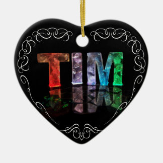 The Name Tim -  Name in Lights (Photograph) Ceramic Heart Decoration