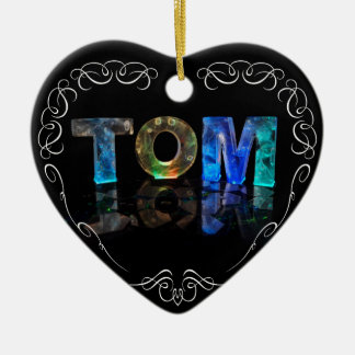 The Name Tom -  Name in Lights (Photograph) Ceramic Heart Decoration