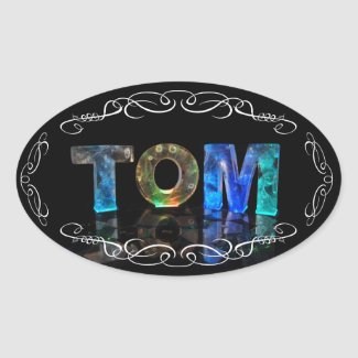The Name Tom - Name in Lights (Photograph) Oval Sticker