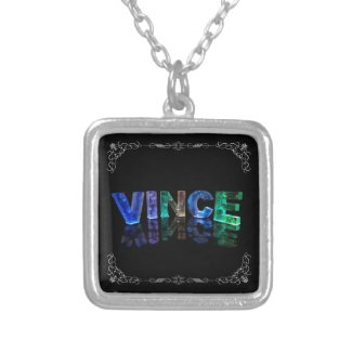 The Name Vince - Name in Lights (Photograph) Personalised Necklace