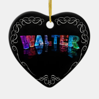 The Name Walter -  Name in Lights (Photograph) Ceramic Heart Decoration